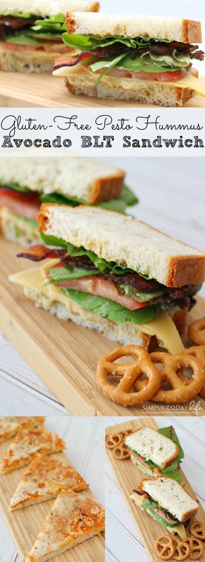 A delicious Gluten-Free Pesto Hummus Avocado BLT Sandwich Recipe perfect for bringing unique flavors to your lunch! All while keeping it gluten-free! (ad) - simplytodaylife.com