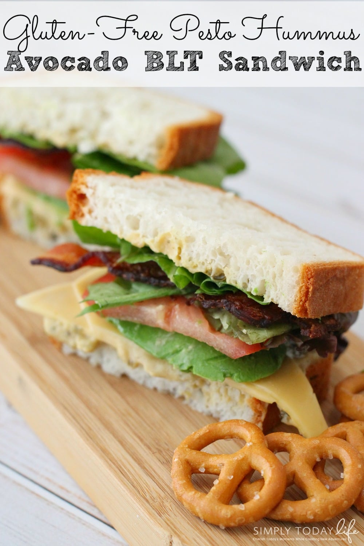 Gluten-Free Pesto Hummus Avocado BLT Sandwich - simplytodaylife.com