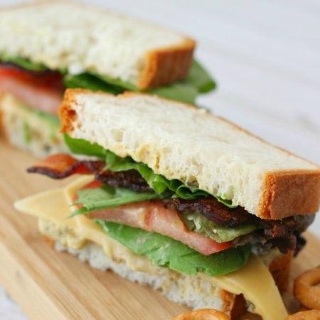 Gluten-Free Pesto Hummus Avocado BLT Sandwich