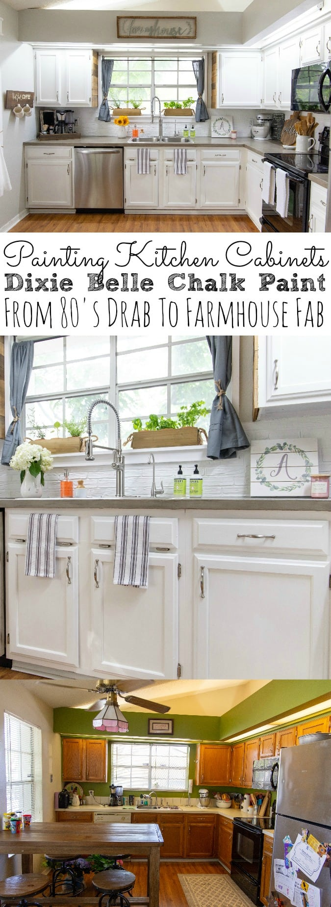 Painting Kitchen Cabinets With Chalk Paint From Dixie Belle | From 80's Drab To Farmhouse Fab - simplytodaylife.com.jpg