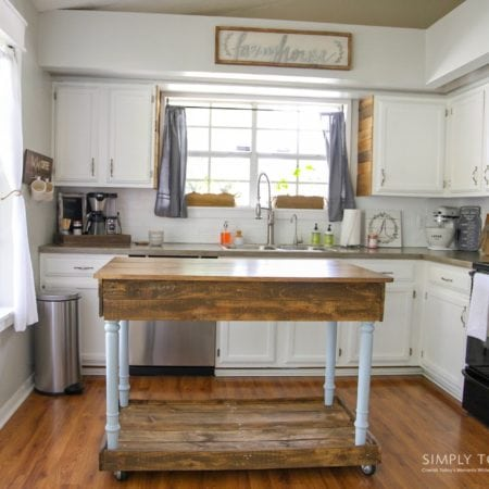 DIY Kitchen Island From Desk   Farmhouse Style - simplytodaylife.com
