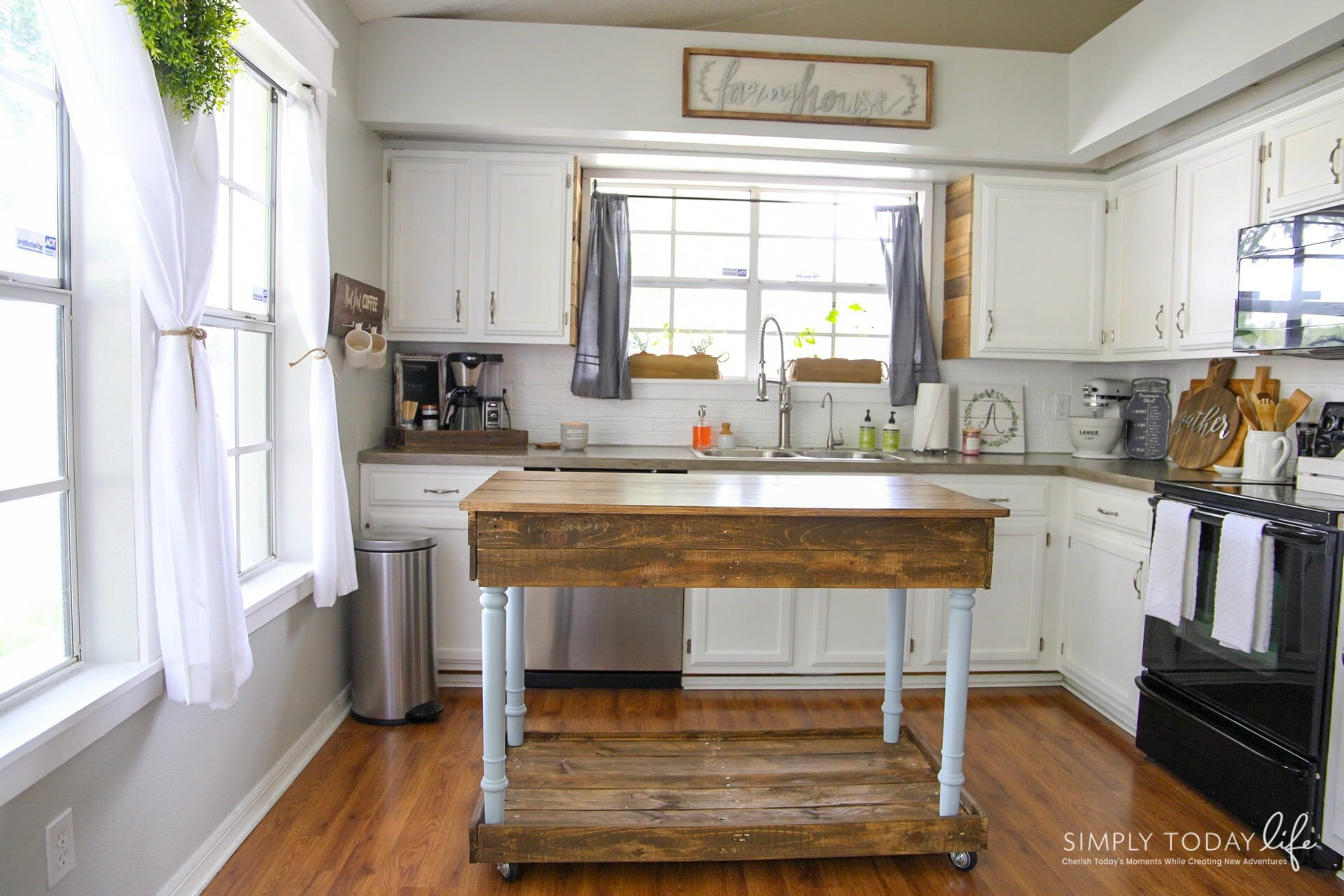 Diy Kitchen Island From Desk Farmhouse Style
