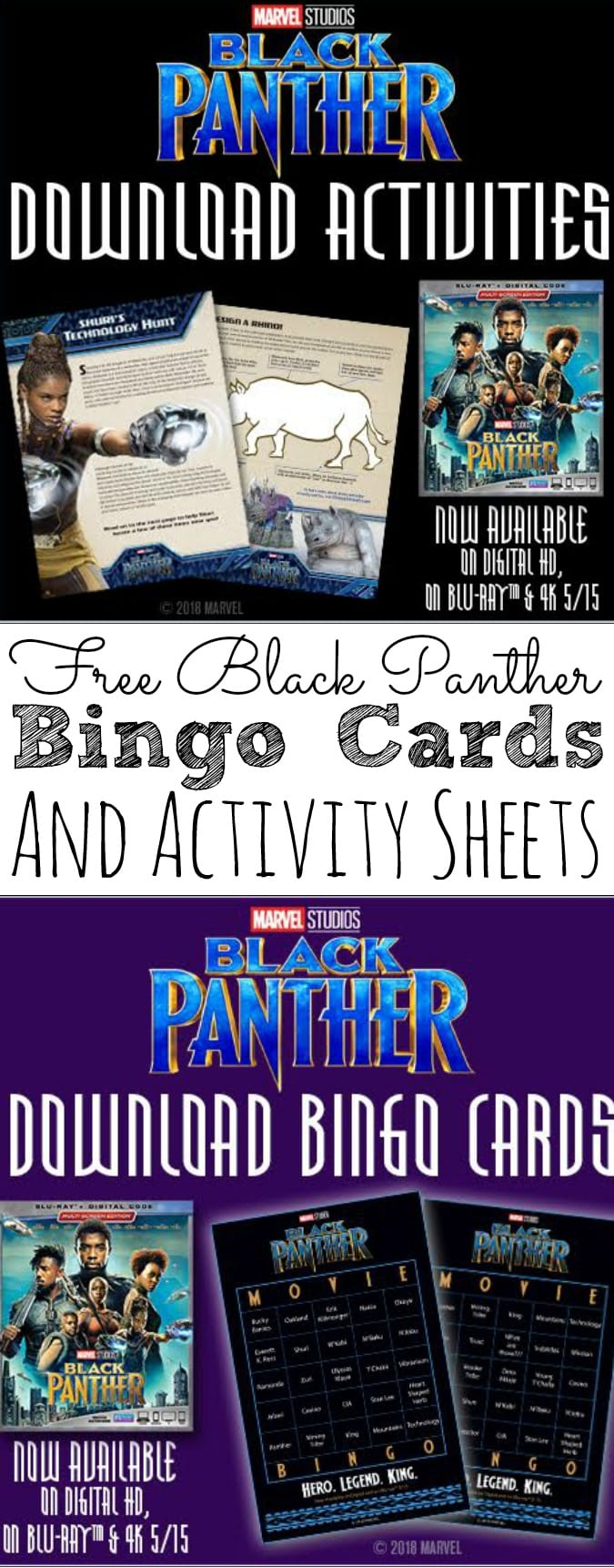 Free black panther bingo cards and activity sheets blackpanther