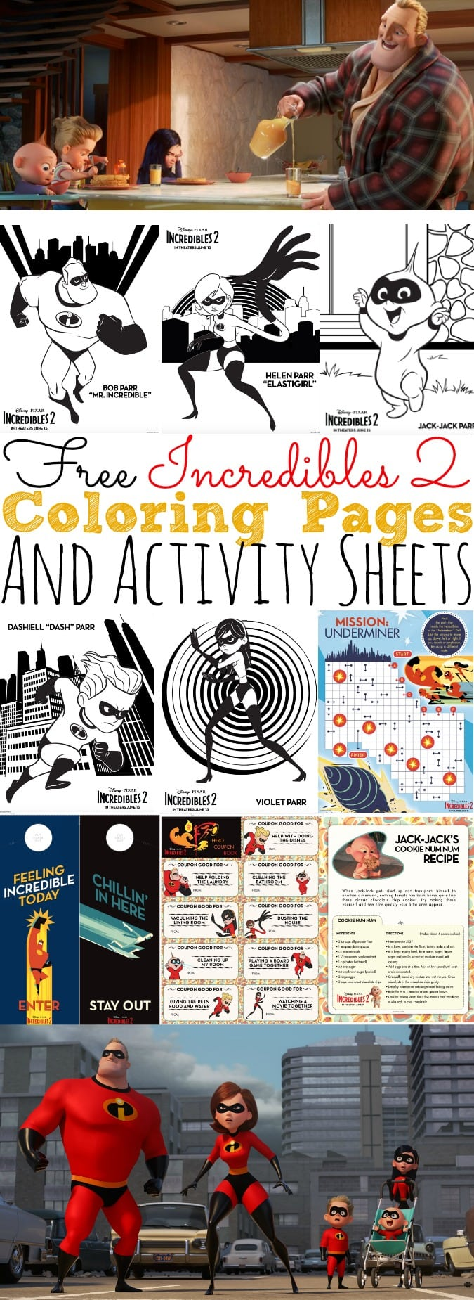 Free Incredibles 2 Coloring Pages And Activity Sheets Simply Today Life