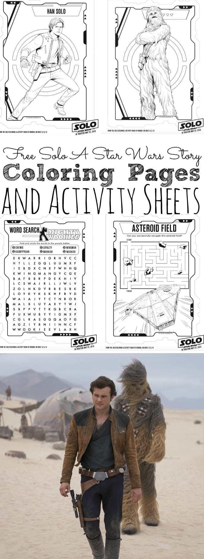 Free Solo A Star Wars Story Coloring Pages and Activity Sheets #HanSolo