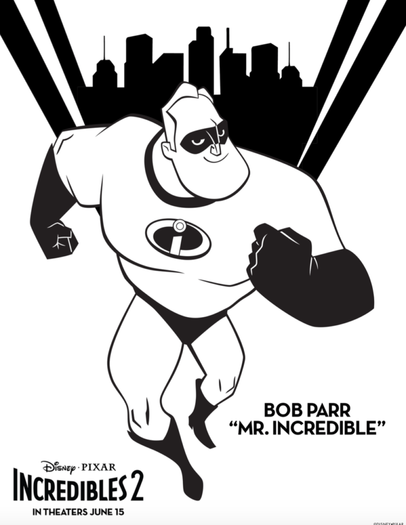 Free incredibles 2 coloring pages and activity sheets for Mr incredible coloring pages