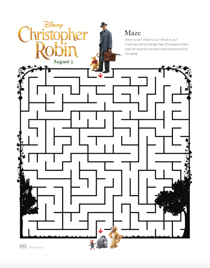 Disney's Christopher Robin Maze Activity Page