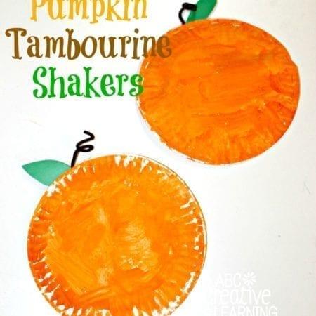 Paper Plate Pumpkin Tambourine Shakers