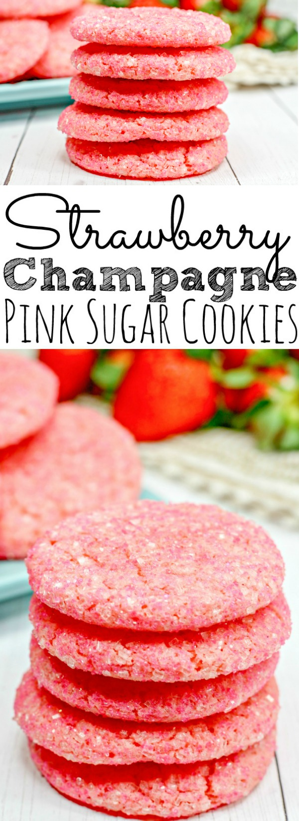 Valentine's Day Pink Strawberry Champagne Sugar Cookies