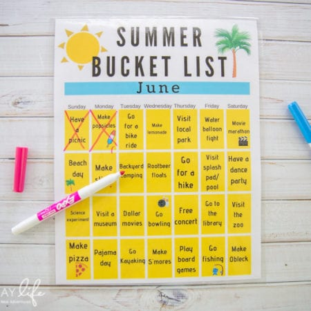 Printable Summer Bucket List Calendar
