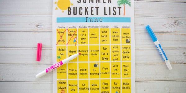 Printable Summer Bucket List Calendar