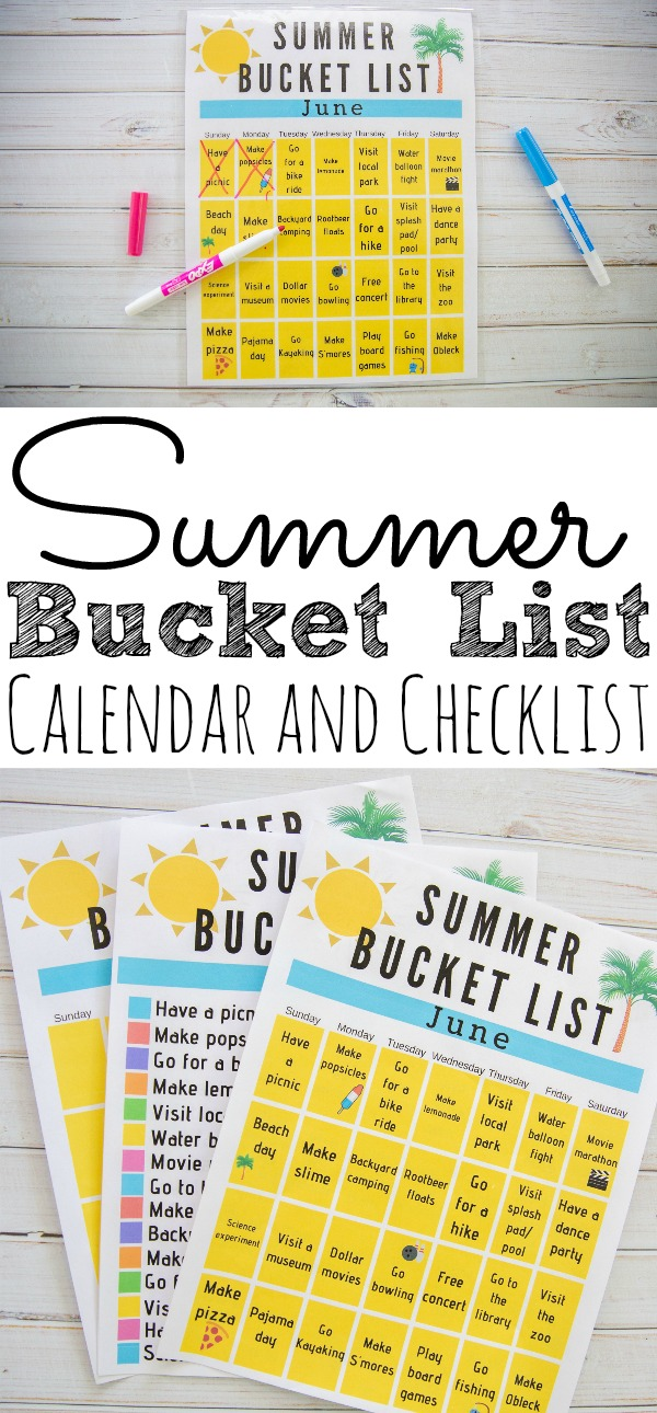 photo about Summer Bucket List Printable identified as Printable Summer season Bucket Checklist Calendar - Merely Currently Daily life