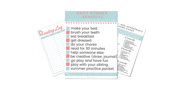 Daily Summer Schedule Printable